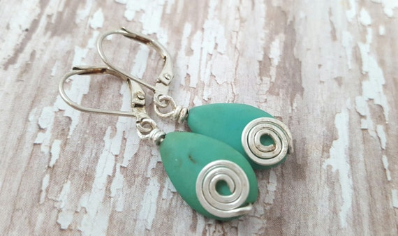 Magnesite Spiral Earrings / Turquoise Color Stone Earrings / Spiral Earrings