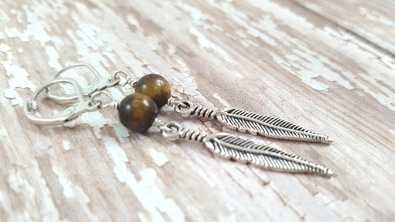 Tigers Eye Feather Earrings / Gemstone Earrings / Feather Dangle Earrings / Hippie Earrings / Boho