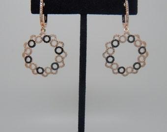 Rose Gold earrings, Wedding earrings, Chandelier earrings, White And Black Stone, Swarovski Crystal earrings, CZ earrings, Rose Gold jewelry