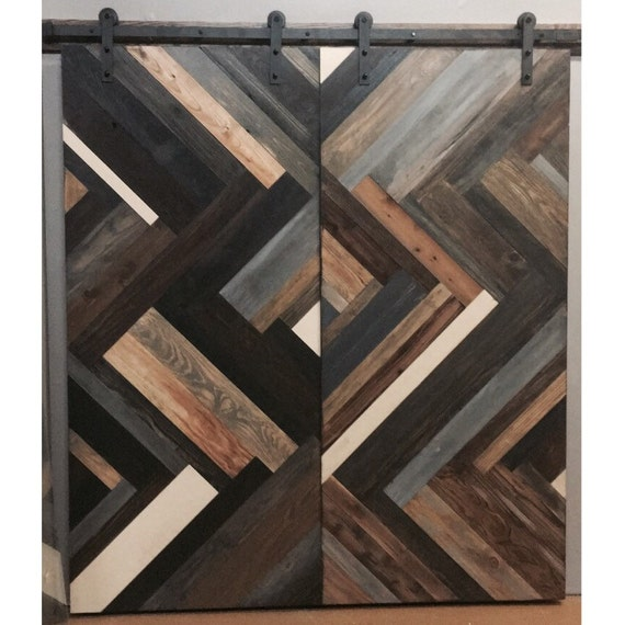 Herringbone Design Sliding Barn Door By Rustic Luxe