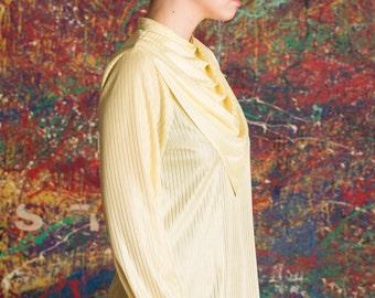 Blouse striped light yellow '70s Golden Girls Bib Small to Medium Secretary