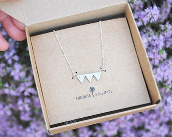 Triangle sterling silver 925 Necklace. MInimalist Jewelry Geometrical Necklace Tiny Jewelry Handcrafted Necklace. Christmas Gift.