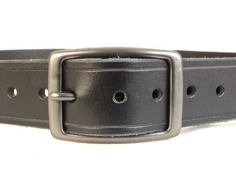 Mens Belt Women's Belt Black Leather Belt Fashion Belt 1 1/4 inch Belt Gun Metal Square Buckle Belt