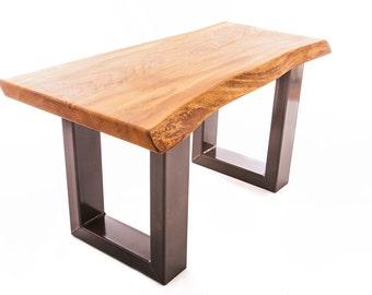 Waney Edged Elm and Steel Legged Coffee Table