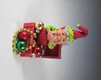 "Elf, OOAK Elf, Polymer Clay Elf, Christmas Elf, Handmade Elf, ""Percy Makes a Mess"""
