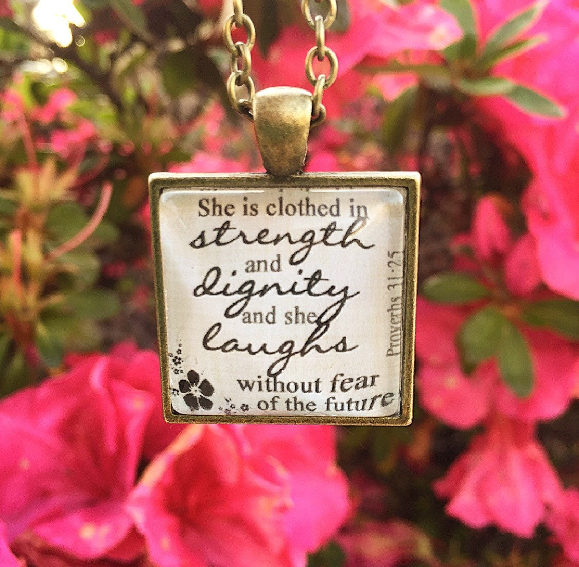 She Laughs In The Danger Of Fear: Bible Verse Pendant Necklace She Is Clothed In Strength