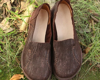 Handmade Women Leather Shoes, Brown Coffee Platform Shoes, pantshoes, Casual Shoes, Slip Ons