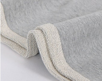 French Heavy Terry Knit Fabric Heather Gray By The Yard