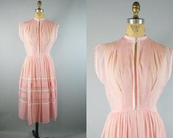 Sheer Pink Dress / 1950s Dress / 50s Dress