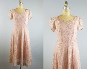 Sealed with a Kiss Dress / 1940s Lace Dress / 40s Dress / Pink Lace Dress