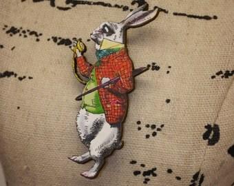 Vintage Alice in Wonderland Rabbit Kitsch Brooch Pin