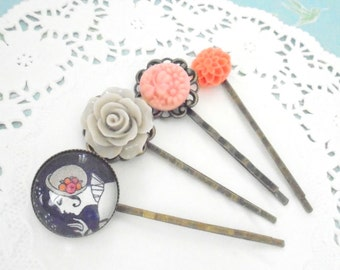 Navy Blue and Grey Hair Pins, Pink, Orange Flower Hair Slides, Art Deco Inspired, Set of Four Bobby Pins