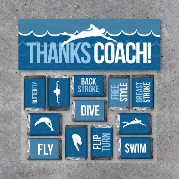 Swimming Coach Thank You Gift – Swimming Mini Candy Bar Wrappers and Matching Treat Toppers – Swim Team – Printable Files – Instant Download