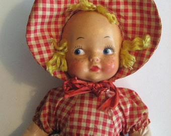 Gund Creations doll 1950s soft plastic doll. J Swedlin Inc tag. Red gingham and freckles, blond hair. Amazing condition, original box.