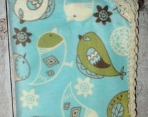 Light Blue Bird Blanket, Fleece Blanket, Baby Blanket, Lap Blanket, Fleece Throw, Crochet Edge