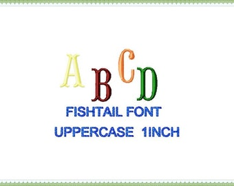 Fishtail Machine Embroidery design Font, Monogram One Dollar Embroidery