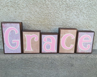 Child's name blocks - light pink/creme/tan themed