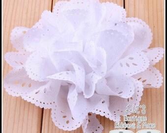 "4"" WHITE eyelet flowers, 2 piece"