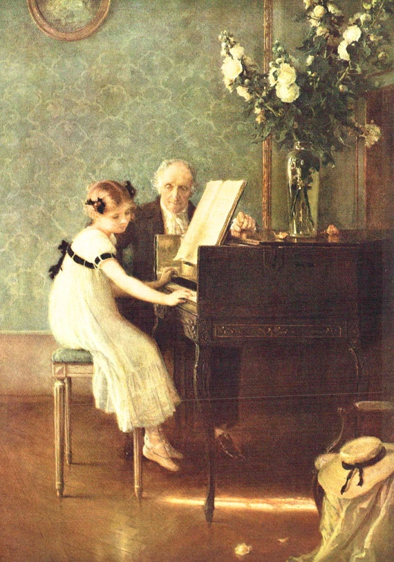 1939 print of The Music Lesson by Jules Muenier (1863 - 1934), French, young girl at piano with elderly teacher, semi gloss print