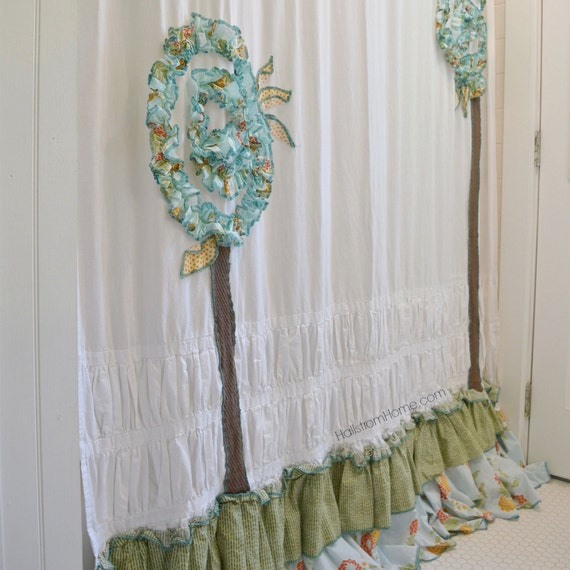 Shabby chic shower curtain bathroom curtain extra long shower for Shabby chic rhinestone shower hooks