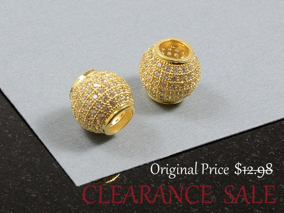 SALE - Micro Pave Ball with Clear Cubic Zirconia/ Large Hole CZ Round Beads in Gold Plating / 11mm - 2 pcs/ order
