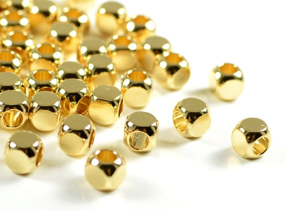 Gold Cube, 5mm, cornerless square spacer beads, rounded square brass beads in, 24k electroplated gold- 25 pcs/ pkg