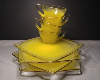 Vintage Frosted Yellow Glass Luncheon Set