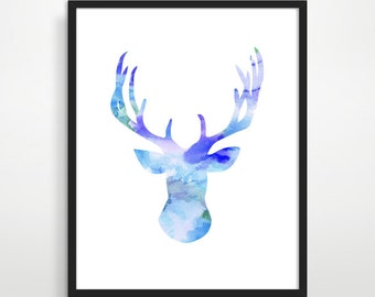 Deer Silhouette - Deer Painting, Deer Wall Art, Deer Antler Art, Watercolor Animal Painting, Woodland Nursery, Modern Home Decor