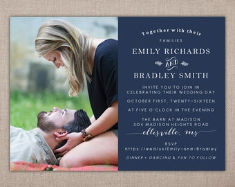 WEDDING - Printable Invitation, Wedding Invitation with Photo, Modern Wedding Invitation, Navy Blue Wedding Invitation, Rustic Wedding Card