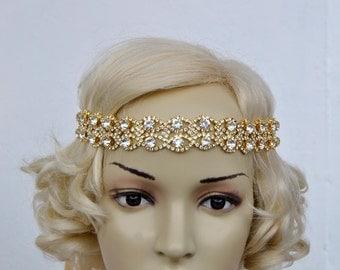 Gold Rhinestone Headband Great Gatsby Headband Crystal Headband Gold Wedding Halo Bridal ribbon Headband Headpiece, 1920s Flapper headband