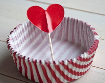 Baking Cups red and white stripes + heart cake topper  - 50pcs - Cupcake Muffin Cups