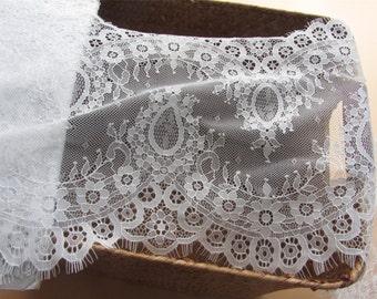 3 Yards pure white eyelash lace fabric  , Chantilly Eyelash Lace Fabric in white  for Wedding Gowns, black eyelash lace fabric-028