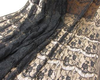 Black Eyelash Lace Fabric for dress, Eyelashdress Lace Fabric by the Yard or Wholesale