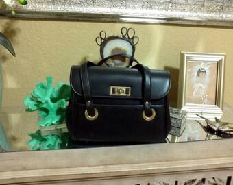 1960s Black Faux Leather Handbag Vinyl Purse Granny Bag/Vegan Purse/Very Roomy/Multiple Compartments