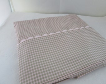 Waverly Pink and Khaki Green Check Single Standard Pillowcase Waverly Pillowcase Pink Green Pillowcase Green Check Pillowcase