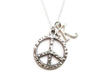 Letter Peace Sign Necklace Initial Necklace Personalized Peace Necklace Peace Sign Jewelry Peace Jewelry Necklace Peace Gift