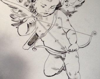Black and White Painting/Art of Cherub Angel
