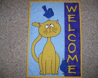 Cat wall quilt-welcome quilt-cat and bird quilt-machine quilted and appliqued
