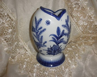 Ashley Bell Vase Fish Design Blue & White