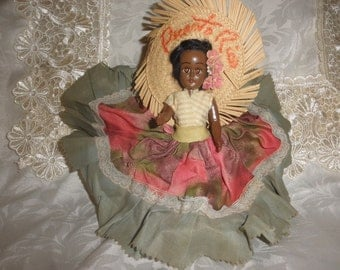 Cultural Folk Art Doll from Puerto Rico with Knickerbocker Plastic Stand