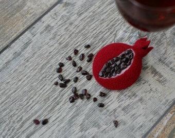 Needle felt Brooch - Pomegranate