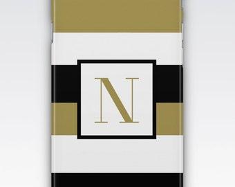 Case for iPhone 8, iPhone 6s,  iPhone 6 Plus,  iPhone 5s,  iPhone SE,  iPhone 5c,  iPhone 7,  Black & White Gold Stripes Monogram