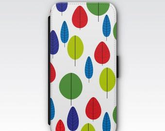 Wallet Case for iPhone 8 Plus, iPhone 8, iPhone 7 Plus, iPhone 7, iPhone 6, iPhone 6s, iPhone 5/5s - Retro Trees Design Wallet Case