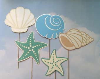 Seashell and Starfish Photo Booth Prop Beach Wedding Photo Booth Props Set of 5