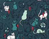 Cat Lady by Sarah Watts for Cotton and Steel - Fat Quarter- Schmitties in Dusty Blue