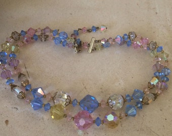 Super Sparkly, 1950's , Blue, Pink, Yellow and Clear Crystals Necklace.