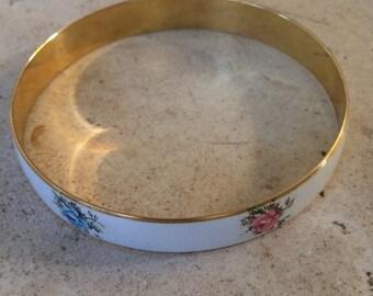 Vintage  Guilloche Enamel with Sweet Floral Apliques Bangle Bracelet.Signed Japan.
