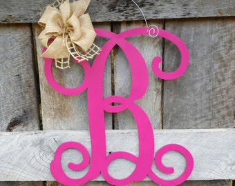 Initial Door Hanger - Personalized Door Hanger - Monogram Wreath - Personalized Door Decor - Personalized Gift
