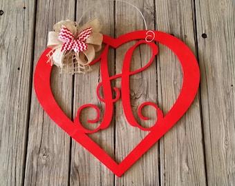 Valentine Door Hanger - Personalized Heart Door Hanger - Valentine's Day Decor - Personalized Valentine Wreath