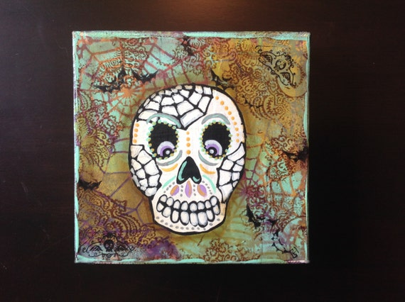 Sugar skull day of the dead mixed media on by ...